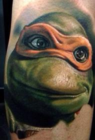手臂绿色小英雄忍者神龟彩绘纹身图片