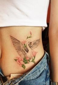 女生腹部漂亮的天鹅花卉纹身