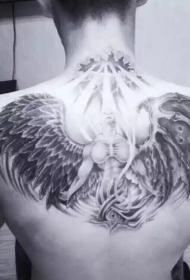 天使与圣光个性后背纹身图案