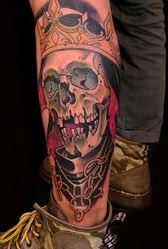 腿部骷髅王彩绘纹身