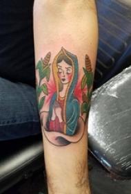 男生手臂上彩绘水彩素描创意人物纹身图片