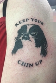 男生小腿上黑白素描动物狗纹身图片