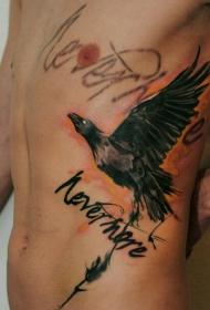 侧腰水墨秃鹰字母纹身图案