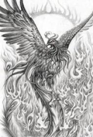 黑灰素描创意霸气火焰展翅凤凰纹身手稿