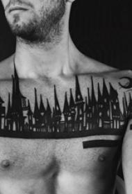 黑色素描古典建筑个性纹身图案