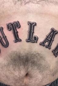 纹身的英文单词 男生腹部黑色的英文单词纹身图片