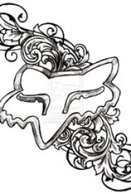 黑色线条素描创意唯美花朵纹身手稿
