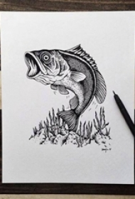 黑色线条素描创意个性文艺小清新风景纹身手稿