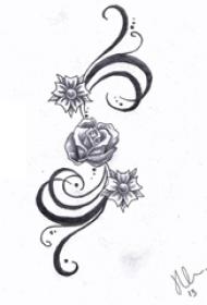 黑灰素描点刺技巧文艺唯美玫瑰纹身手稿