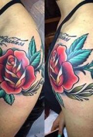 纹身小花朵 女生肩膀上彩绘纹身小花朵图片