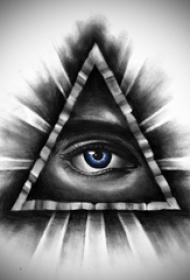 黑灰素描创意抽象几何元素3d眼睛纹身手稿