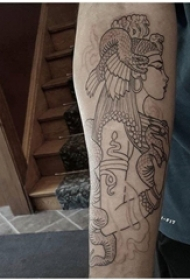 黑色线条素描创意唯美女生人物纹身图片