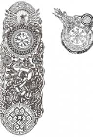 黑灰素描创意精美花纹钟表纹身手稿