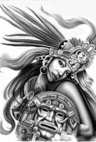 黑灰素描创意霸气精美女生肖像纹身手稿