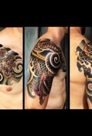 纹身半甲图片 男生手臂上图腾半甲纹身龙图案