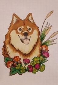小狗纹身手稿 彩绘纹身小狗纹身手稿