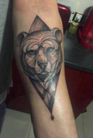 几何动物纹身 男生手臂上几何动物纹身图片