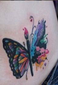 艺术蝴蝶腹部纹身