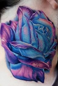 蓝色妖姬颈部纹身