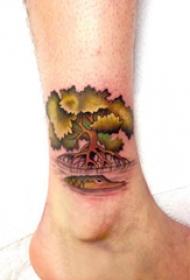 树纹身 男生脚腕上树纹身图片