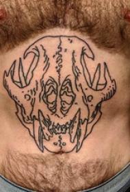 纹身骷髅 男生腹部骷髅头纹身图片