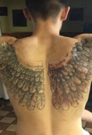 天使翅膀纹身素材 男生背部翅膀纹身图片