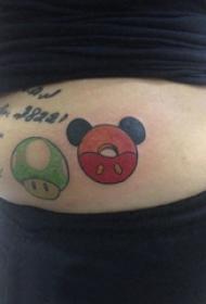 腹部纹身 男生腹部彩色的卡通纹身图片