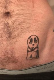 骷髅纹身  男生腹部黑灰纹身骷髅纹身图片