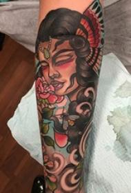 女性人物纹身图案 多款简约线条纹身彩绘女性人物纹身图案