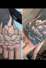 莲花纹身小图  女生手背上渐变的莲花纹身图片