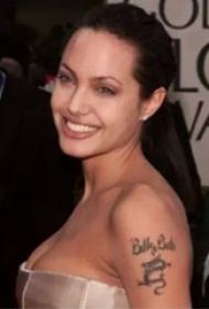 美国纹身明星  安吉丽娜朱莉手臂上龙和英文纹身图片