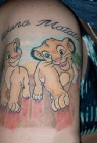 卡通狮子纹身图案  女生小腿上彩绘的卡通狮子纹身图片