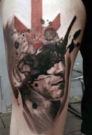 大腿纹身男 男生大腿上创意的人物纹身图片