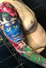手臂纹身图片 男生手臂上龙和般若纹身图片