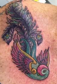大腿纹身男 男生大腿上鸟和羽毛纹身图片