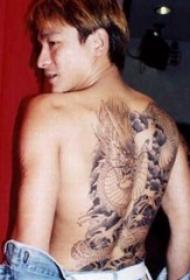 刘德华纹身  明星后背上黑灰色的龙纹身图片