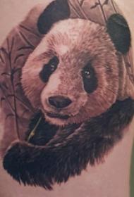 熊猫纹身图 女生大腿上黑色的熊猫纹身图片