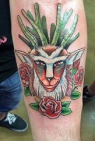 百乐动物纹身  男生手臂上彩绘的百乐动物纹身图片