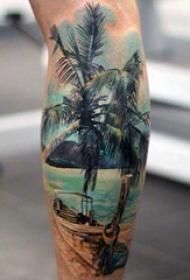 棕榈树纹身图案   绿意盎然的棕榈树纹身图案
