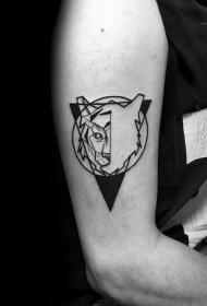 老虎头纹身图案  用以几何设计的老虎头纹身图案