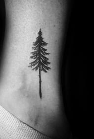 纹身小树  黑灰色调的小树纹身图案