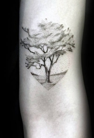 手部树木纹身   一派生机的手部树木纹身图案