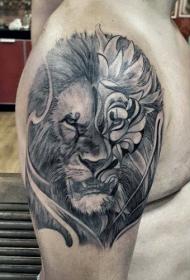 狮子 纹身图案  气势十足的狮子纹身图案