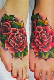 纹身玫瑰花  芳香四溢的玫瑰花纹身图案