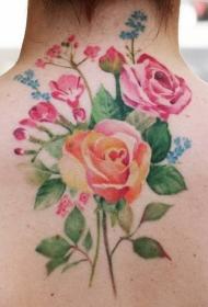 玫瑰纹身图    肆意绽放的玫瑰花纹身图案