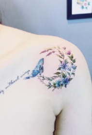 一套20张女生小清新锁骨性感纹身套图