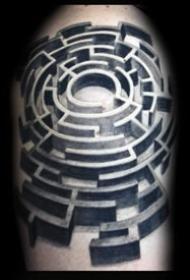 创意纹身图片  纷繁芜杂的创意迷宫纹身图案