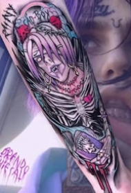彩色手臂图案-一套分红色主题的彩色纹身图片
