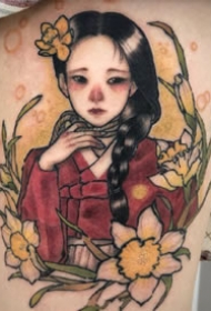少女系列纹身图案-9张韩国纹身师Neondrug的创作少女系列纹身图片
