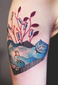 色彩斑斓的一组猫喵纹身作品图片